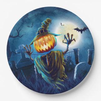 Halloween Scary Scene (5) Pumpkin Both Sizes Paper Plate