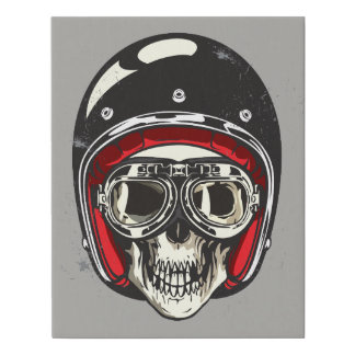 Halloween Scary Skull with Black Biker Helmet Faux Canvas Print