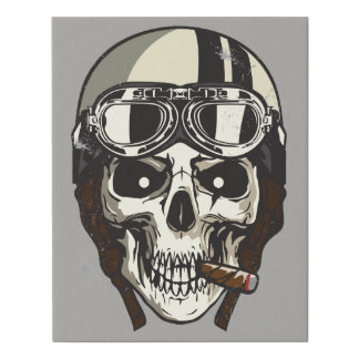 Halloween Scary Skull with White Biker Helmet Faux Canvas Print