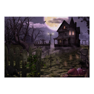 "Halloween Scene 28"" x 20"" Poster"