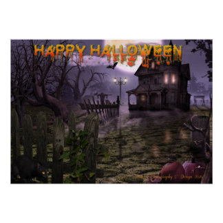 """Halloween Scene 28"""" x 20"""" Poster with text"""