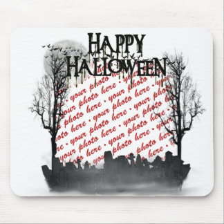 Halloween Scene Photo Frame Mouse Pad