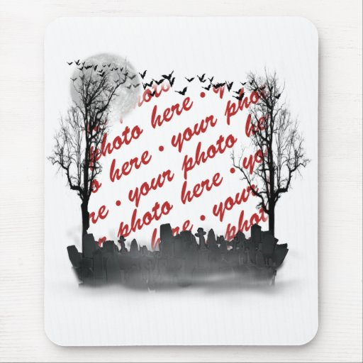 Halloween Scene Photo Frame Mouse Pad