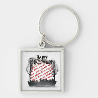 Halloween Scene Photo Frame Silver-Colored Square Keychain