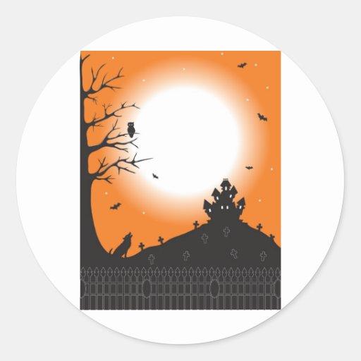 Halloween Scene Round Sticker