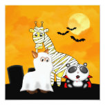 Halloween Scene with Fancy Dress Cartoon Animals 5.25x5.25 Square Paper Invitation Card