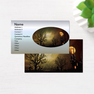 Halloween Scene with Mystical Castle Business Card