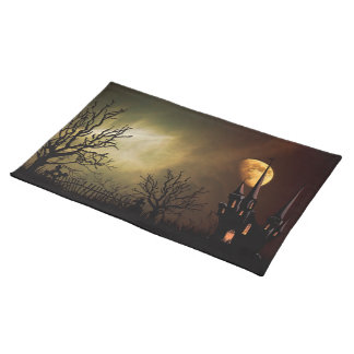 Halloween Scene with Mystical Castle Cloth Placemat