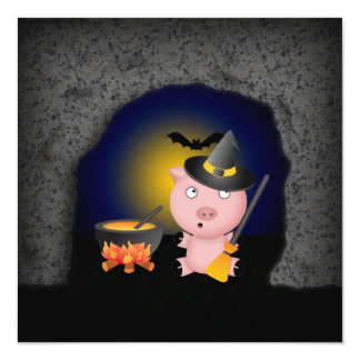Halloween Scene with Witch Pig in a Spooky Cave Card