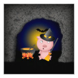 Halloween Scene with Witch Pig in a Spooky Cave 5.25x5.25 Square Paper Invitation Card