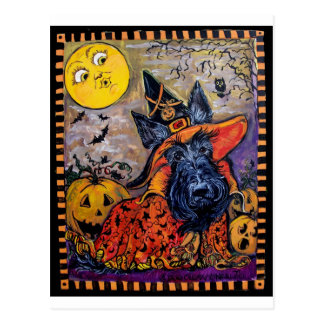 Halloween Scottish Terrier Postcard