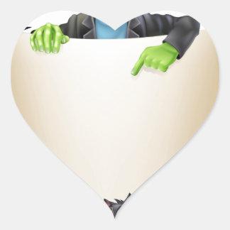Halloween Scroll Background Heart Stickers
