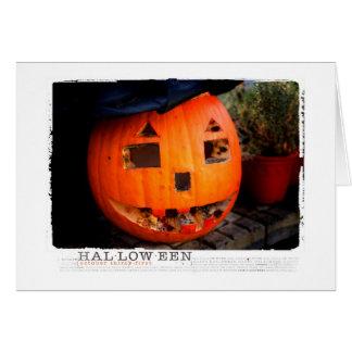 Halloween se descompuso hacia fuera calabaza tarjeta de felicitación