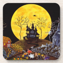 Halloween set of cork backed coasters,ghosts coaster