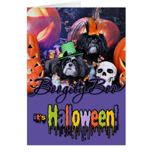 Halloween - Shih Tzu - volantes Riley Tarjeta Pequeña