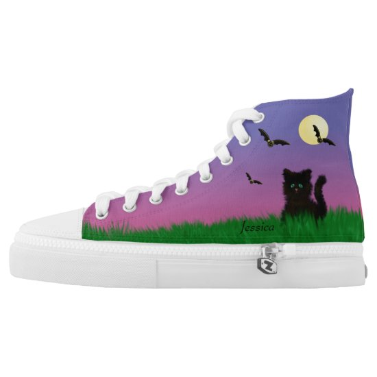 Halloween shoes, with bats, a fluffy black cat High-Top sneakers