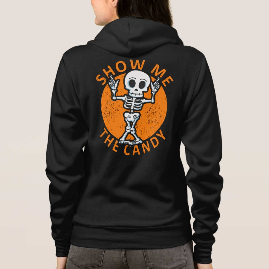 Halloween Show Me The Candy Skeleton Hoodie - Creative Long-Sleeve Fashion Shirt Designs