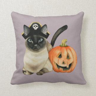 Halloween Siamese Cat with Jack O' Lantern Throw Pillow