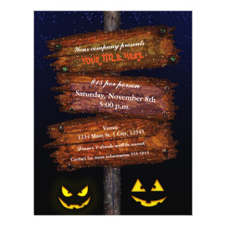 Halloween Sign Scary Pumpkins Costume Party Flyer