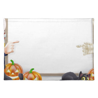 Halloween Sign with Mummy and Dracula Place Mat