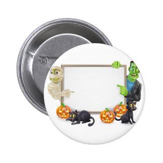 Halloween Sign with Mummy and Frankenstein Pinback Button