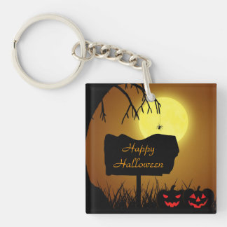 Halloween Sign with Pumpkin - Acrylic Keychain