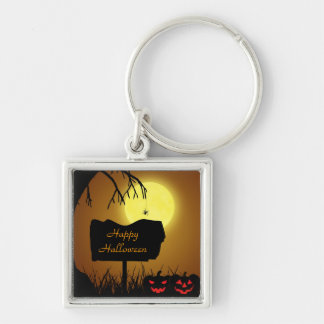 Halloween Sign with Pumpkins - Keychain
