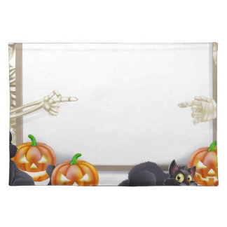 Halloween Sign with Skeleton and Mummy Place Mats