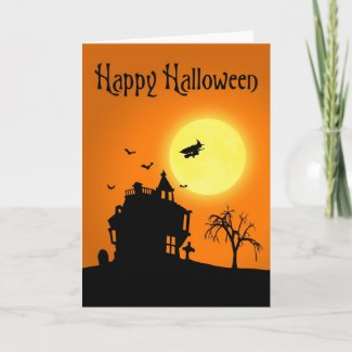 Halloween Silhouette Landscape - Greeting Card