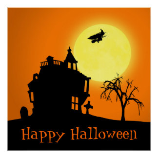 Halloween Silhouette Landscape - Poster