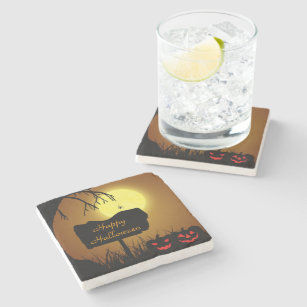 Halloween Silhouette Sign - Marble Stone Coaster