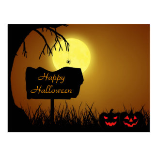 Halloween Silhouette Sign - Postcard