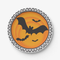 Halloween Silhouettes Bat Paper Plates 7 Inch Paper Plate