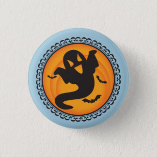 Halloween Silhouettes Ghost Badge Button