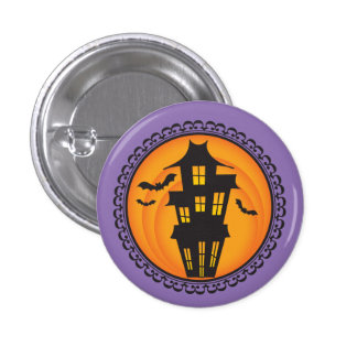 Halloween Silhouettes Haunted House Badge Button