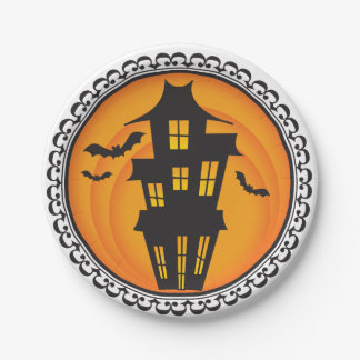 Halloween Silhouettes Haunted House Paper Plates