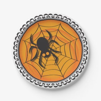 Halloween Silhouettes Spider and Web Paper Plates 7 Inch Paper Plate
