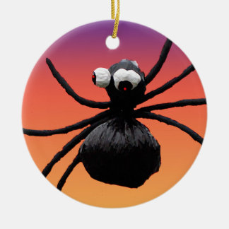 Halloween Silly Spider Double-Sided Ceramic Round Christmas Ornament