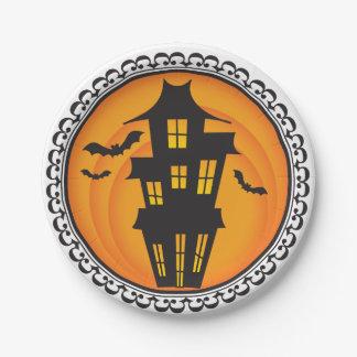 Halloween siluetea las placas de papel de la casa plato de papel de 7 pulgadas