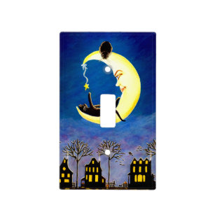 Halloween single light switch cover,black,cat,moon