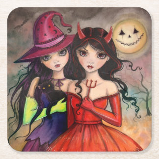 Halloween Sisters Trick or Treating Art Square Paper Coaster