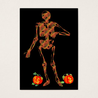 Halloween Skeleton and Pumpkins Business Card
