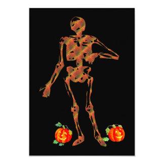 Halloween Skeleton and Pumpkins Card