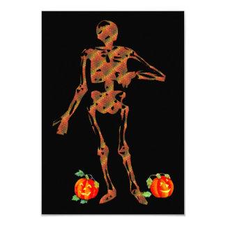 Halloween Skeleton and Pumpkins 3.5x5 Paper Invitation Card