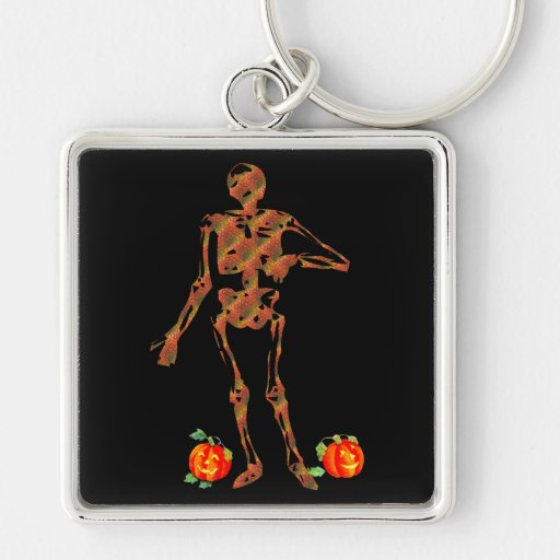 Halloween Skeleton and Pumpkins Silver-Colored Square Keychain