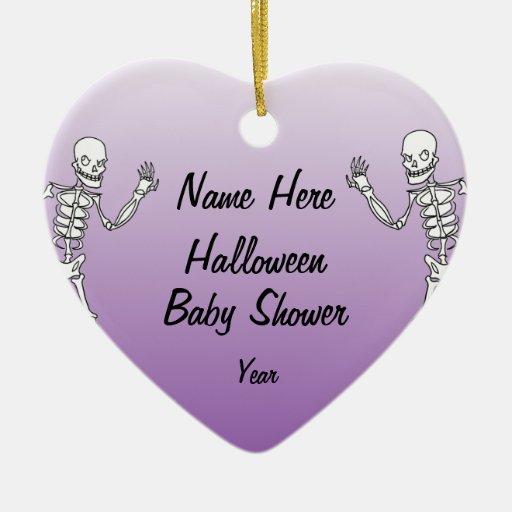 halloween skeleton baby shower heart ornaments zazzle