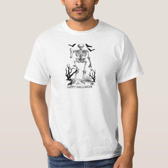 HALLOWEEN SKELETON, BATS, SPIDERS, RAVEN PRINT T-Shirt