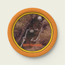 Halloween Skeleton Bones Scary Photo Designed Paper Plate