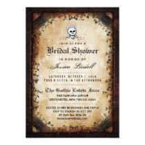 Halloween Skeleton Brown Gothic Bridal Shower Card