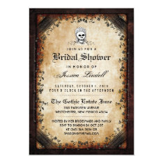 Halloween Skeleton Brown Gothic Bridal Shower Card at Zazzle